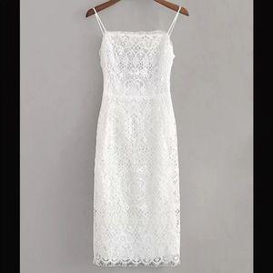 SHEIN lace knot backless slip dress